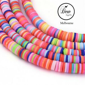 About 400pcs Multicoloured Flat Round Eco-Friendly Handmade Polymer Clay Beads