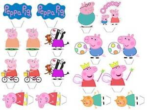 Peppa Pig 18 x Edible Stand Up Cake Toppers - PREMIUM WAFER CARD