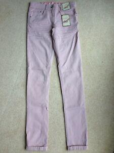 """M&S ANGEL PINK STRETCH SKINNY JEANS 24"""" WAIST 33""""L Size 6 BNWT adjustable waist"""