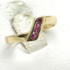 Vintage Ruby ring 14k yellow gold Red channel set ring band July Birthstone