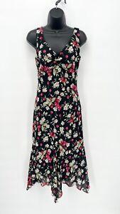 Vtg Women's Y2K 90's Cherry Cherries Fruit Print Ruffle Hem Midi Dress Sz 5