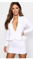Dress Size 10 Boohoo Petite Extreme Plunge White Peplum Waist Dress DW104