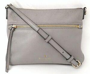 Kate Spade Grey Pebble Leather Crossbody Bag Purse