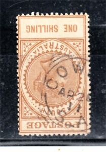 SOUTH AUSTRALIA 1/- BROWN LONG TOM  WATERMARK INVERTED (A16)