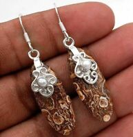 Natural Turritella Agate 925 Solid Sterling Silver Earrings Jewelry, ED3-3