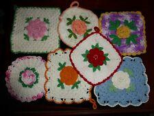 New listing 7 Vintage Crocheted 3D Flower Pot Holders