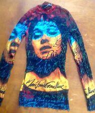 Jean Paul Gaultier Shirt Mesh bunt Frauenkopf m. Schrift Gaultier Gr. S
