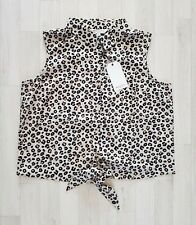 BRAVE SOUL size 18 sleeveless LEOPARD PRINT SHIRT summer COLLARED holiday