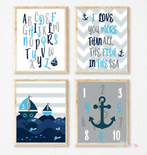 WALL ART PRINT SET Nursery Decor 8x10in Alphabet Nautical Boats Fish in the Sea