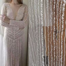 1 Yard Bling Sequined Embroideried Lace Fabric Off  White Bridal  Lace Mesh 51''