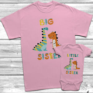 Pink Dinosaur Big Sister Little Sister T-Shirt Themed Kids Baby Grow Set Outfit