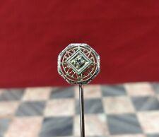 Antique 14K White Gold & Diamond Hatpin Stick Pin