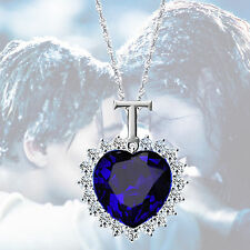 Fashion Silver Titanic Rose Heart Of The Ocean Sapphire Blue Crystal Necklace