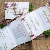 Personalised Wedding Invitations Evening Invites - Pink Wild Floral - Handmade