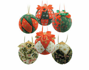 6 Christmas Fabric Covered Baubles Craft Kit | Adults Christmas Craft Kits