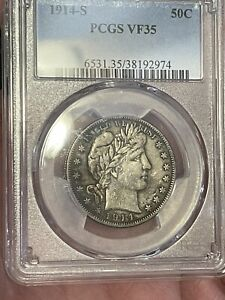1914-S Barber Half Dollar 50c PCGS Certified VF35