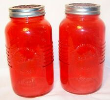 Jar with frog flower lid Red Pink Mason Quart Glass X2 Set