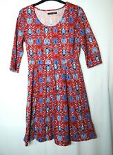 RED BLUE FLORAL LADIES CASUAL SKATER DRESS SIZE 8 ATMOSPHERE