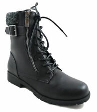 BLACK WARRIOR-11S Women Lace Up Faux Leather Knit Cuff Combat Boot Size 8.5