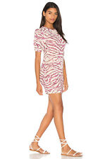 NWT Free People Take Me Out Mini in Ivory Pink Textured Zebra Print Dress M $168