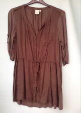 Next Petite Women's Khaki Long Tunic Top With 3/4 Length Sleeves Size 14
