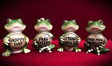 Mini Frog Statues with Funny Sayings Signs-Home Decor- Humor Gift-Set of 4!