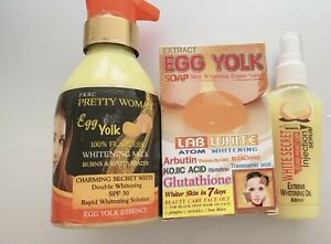 PKRC PRETTY WOMAN EGG YOLK Double WHITENING MILK + SERUM + WHITENING EGG SOAP