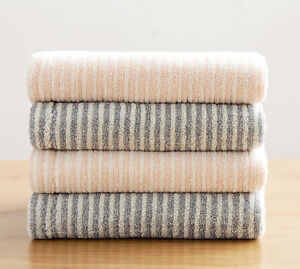 4pcs Couple Towel Luxury Fine Quality Towels Face & Bath Towel Vertical Stripe