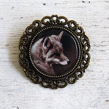 Pre Tied Stock Pin Sepia Fox Brooch tie lapel Jacket Hunter Equine Horse Badge