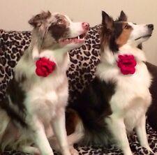 CROCHET CHRISTMAS FLOWER FOR DOG COLLAR Red