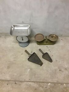 Unusual Antique/vintage Bank Items - Scales, Weights, Coin Baggers