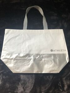 """ATHLETA Large Tote White & Silver Bag 13.5x19"""" Reusable 82% Recycled Material"""