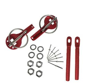 Universal Quick Release Bonnet Pins / Engine Hood Lock, Slide Plated Red