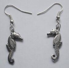 (20mm x 10mm) drop Earrings #2250 Pewter Little Seahorse