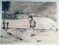 Ink Drawing 1889 Rainy Day in Tokyo Japan