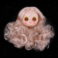 White Faceplate Head with Wig Hair For Middle Blythe Neo Dolls Custom