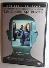 Being John Malkovich (Dvd, 2000) John Cusack Cameron Diaz Dvd Mint Condition