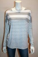 VALLEYGIRL Brand Grey White Striped Long Sleeve Top Size S BNWT #TS79
