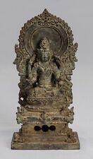 More details for antique java style indonesian majapahit seated bronze vishnu statue - 15cm/6