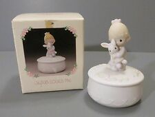 "Precious Moments ""Jesus Loves Me"" Girl Holding Bunny Trinket Box with Lid"