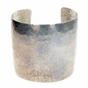 Wide Allan Adler Sterling Silver Hammered Bracelet