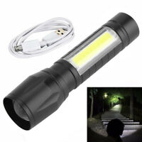 Newest T6 COB Flashlight Zoomable LED Torch 18650 USB Rechargeable Light Lamp