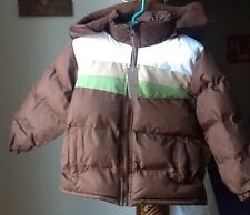 New Boy's Sz 4 Operation Warm Everyday Puffer Winter Coat Removable Hood Brown
