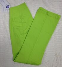 NWT DG2 Diane Gilman Womens PXS Pull-On Lime Green Elastic Waist Stretch Pants