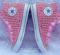 Pearly Pink and Crystal High Top Luxe Converse