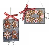 Gingerbread On Metal Tray Ornaments Kurt Adler Set 2 Baking Sheet Cookies