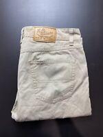 RM Williams Mens Denim Jeans Size 34 R Beige Straight Leg Longhorn Made in Aus