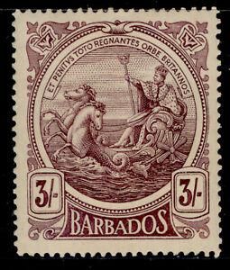 BARBADOS GV SG191, 3s deep violet, UNUSED. Cat £75.
