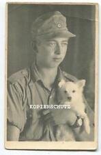 Original Portrait Foto Afrikakorps deutscher Soldat mit Hund 2.WK