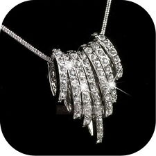 18K WHITE GOLD GP MADE WITH SWAROVSKI CRYSTAL RINGS CLUSTER PENDANT NECKLACE